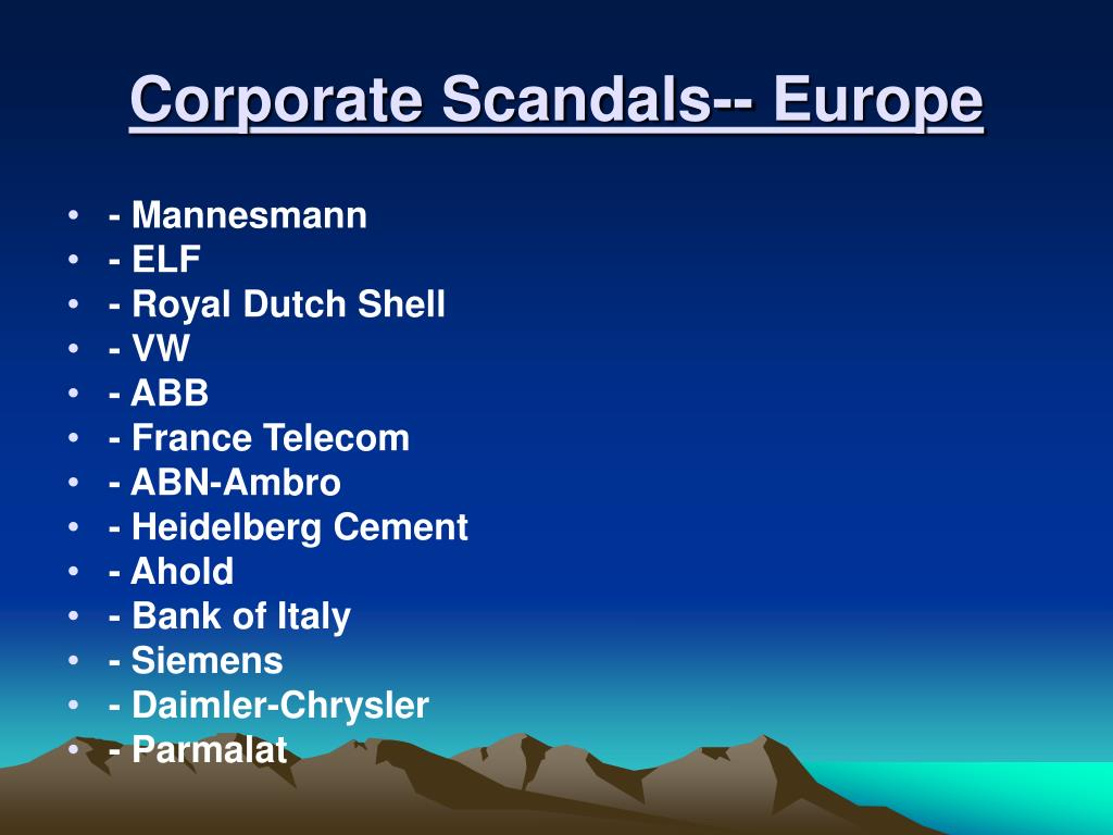 Corporate Scandals-- Europe
