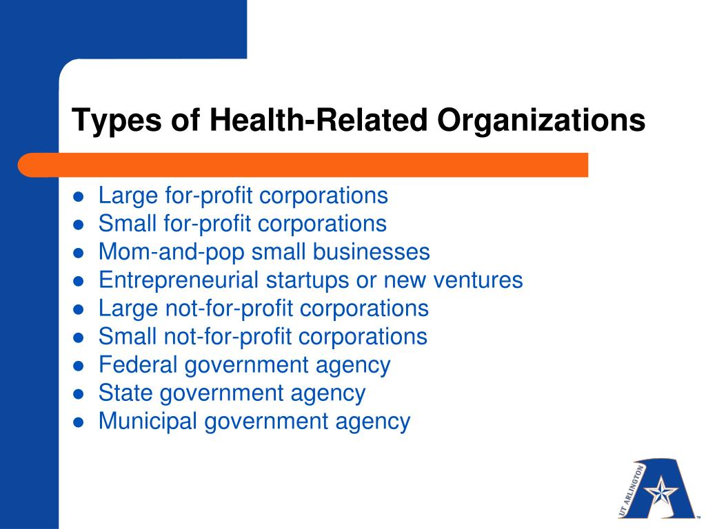 Types of Health-Related Organizations