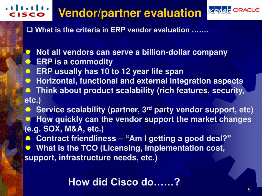 Vendor/partner evaluation