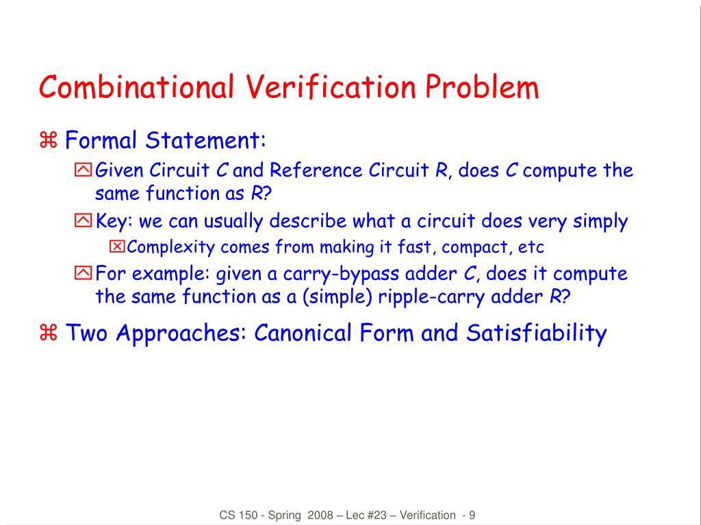 Combinational Verification Problem