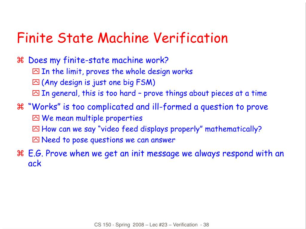 Finite State Machine Verification
