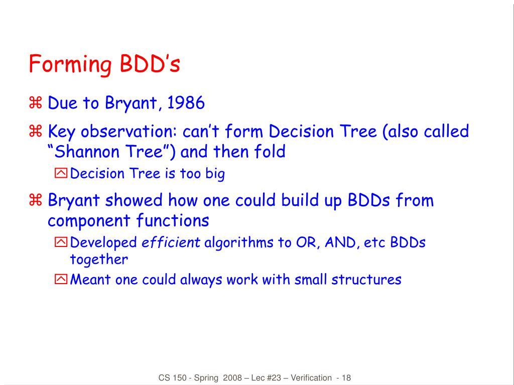 Forming BDD's