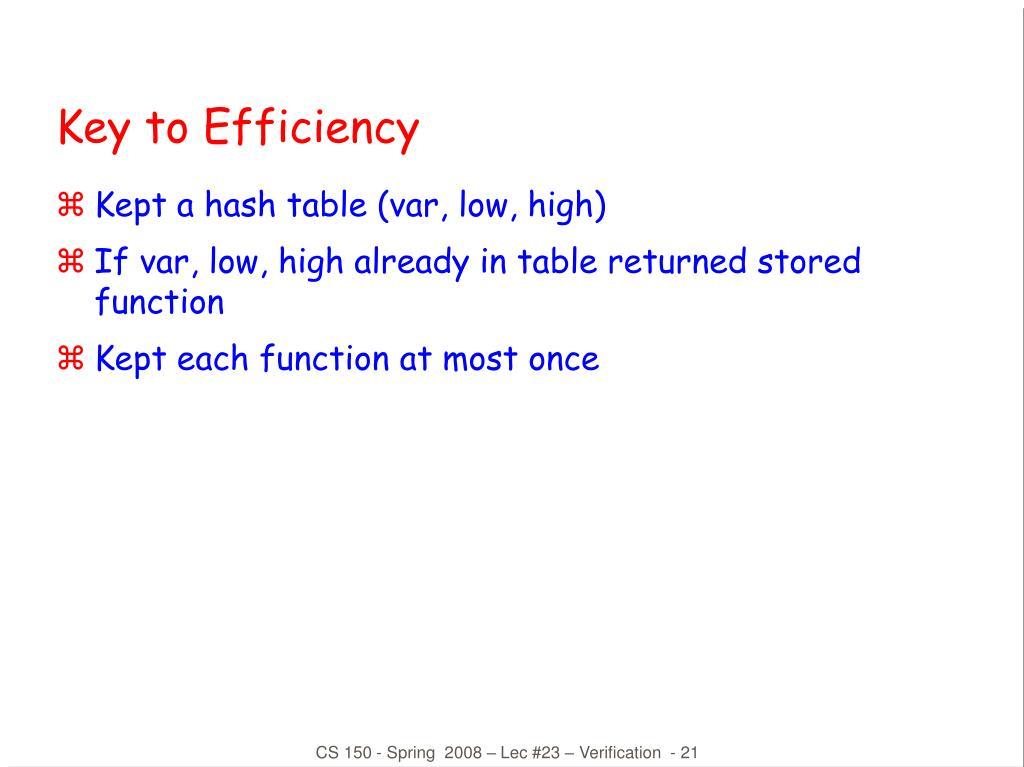 Key to Efficiency
