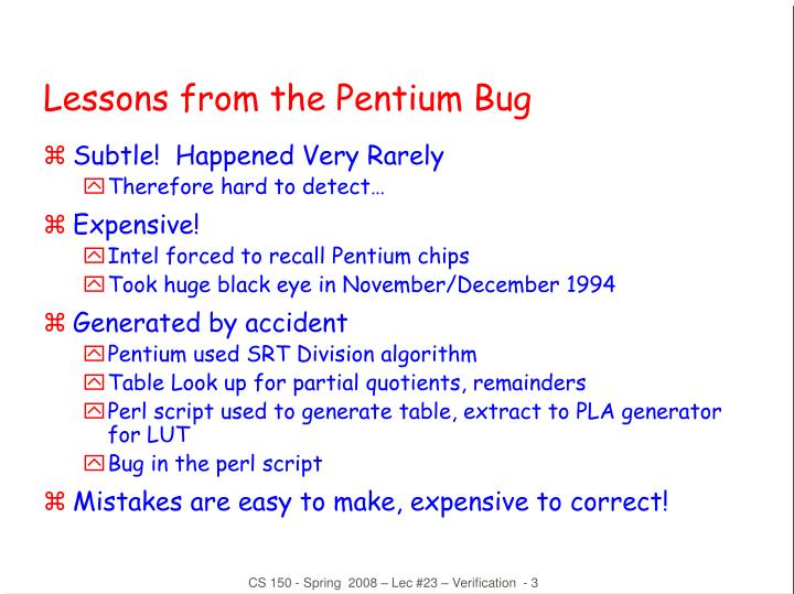 Lessons from the pentium bug