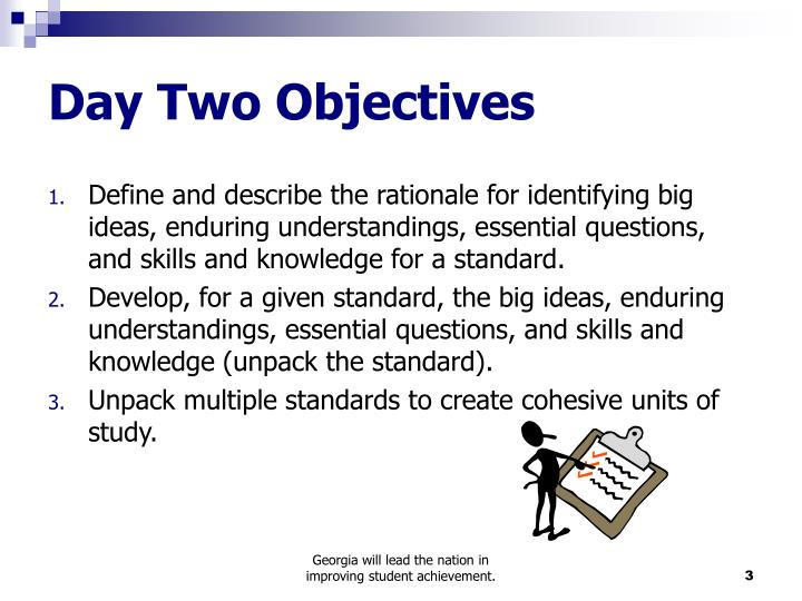 Day two objectives