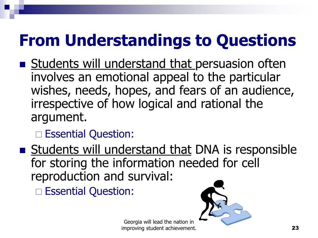 From Understandings to Questions