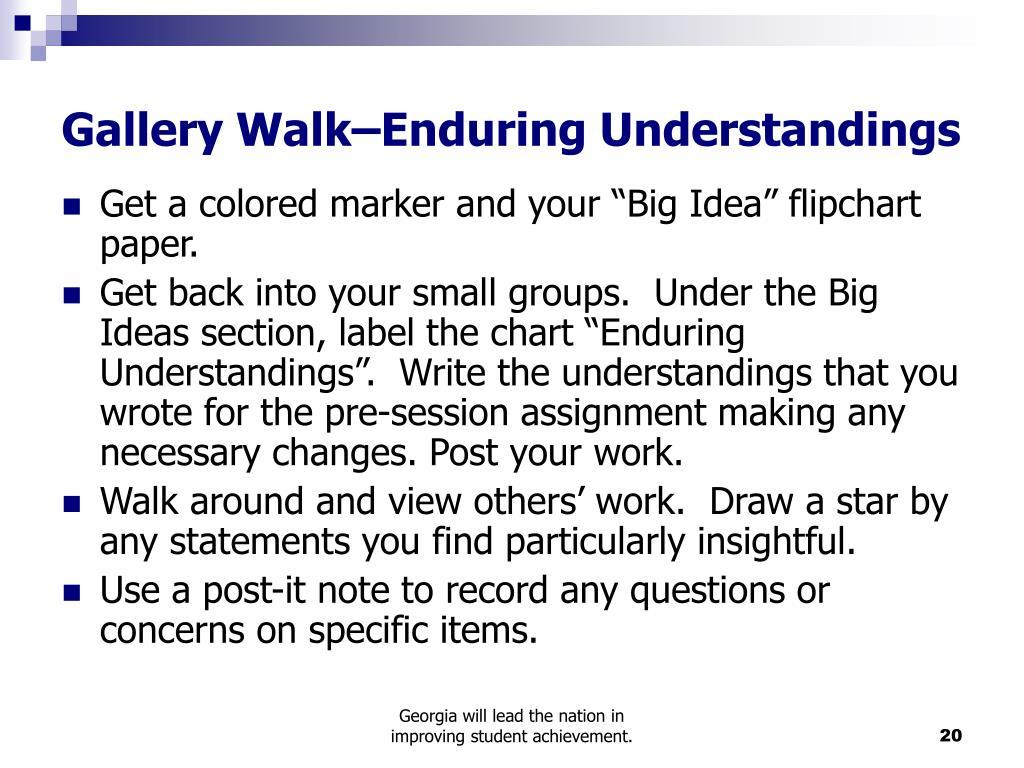 Gallery Walk–Enduring Understandings
