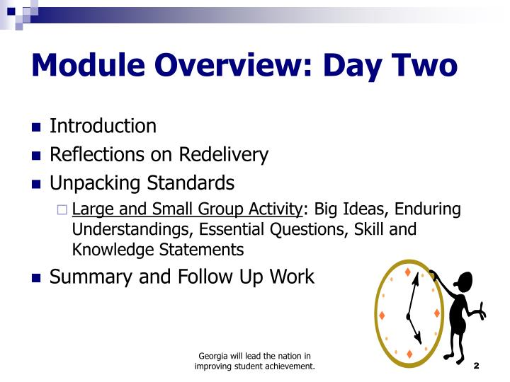 Module overview day two