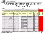 7 generate effort hours and costs other sources of effort