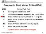 parametric cost model critical path