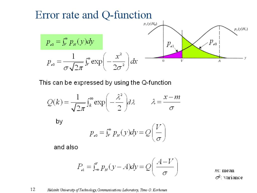 Error rate and Q-function