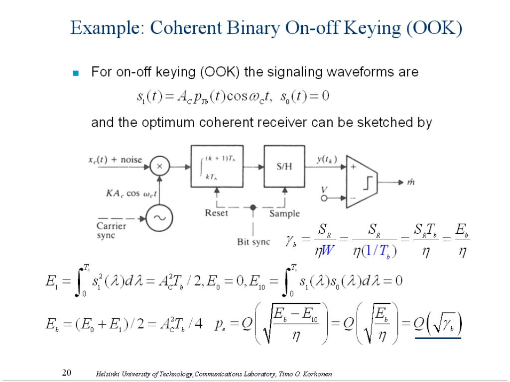 Example: Coherent Binary On-off Keying (OOK)