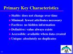 primary key characteristics