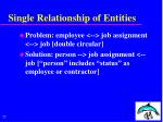 single relationship of entities