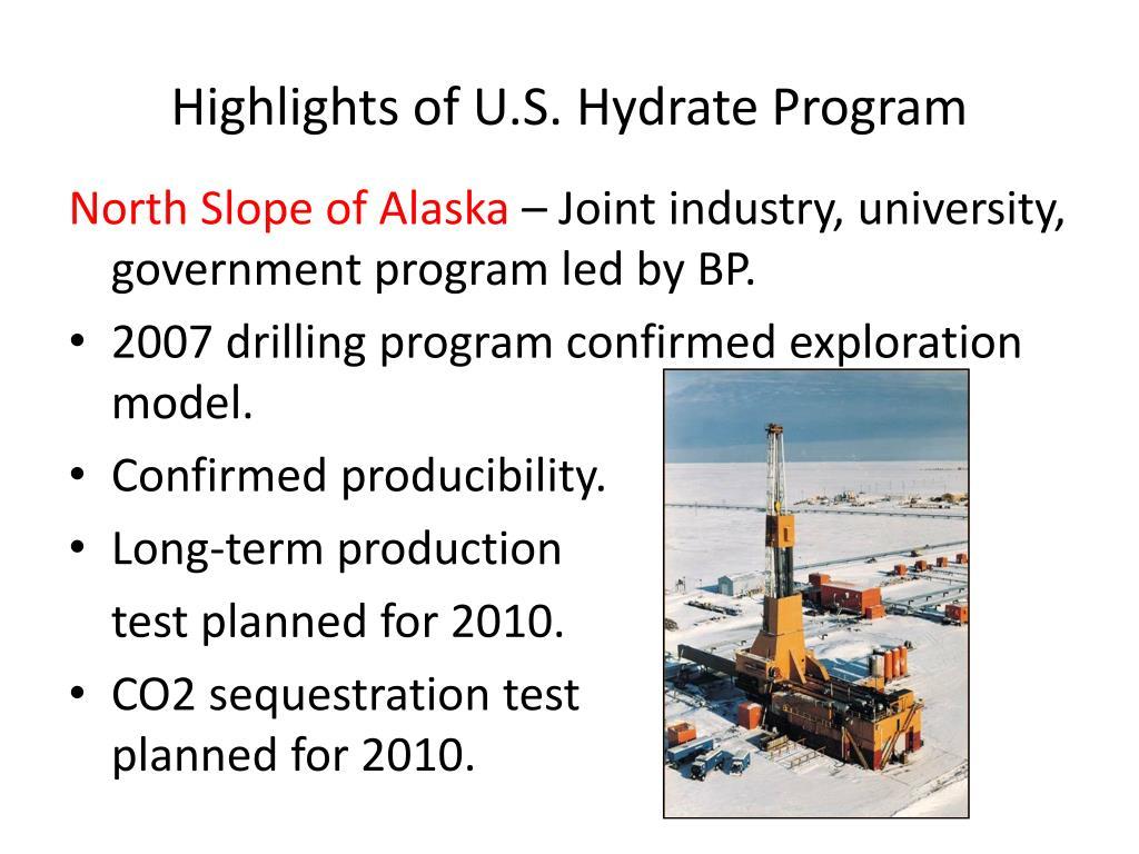 Highlights of U.S. Hydrate Program