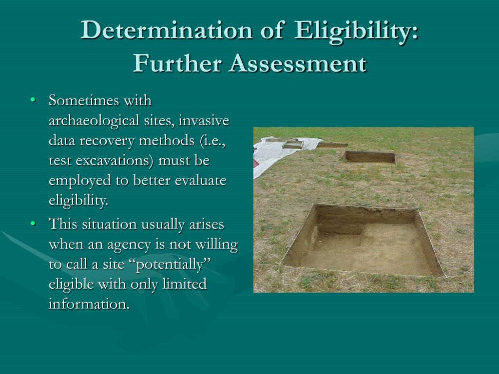 Determination of Eligibility:  Further Assessment