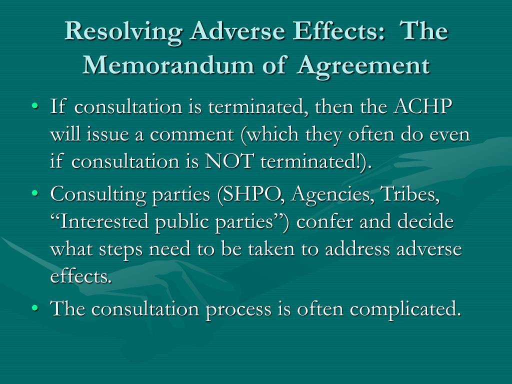 Resolving Adverse Effects:  The Memorandum of Agreement