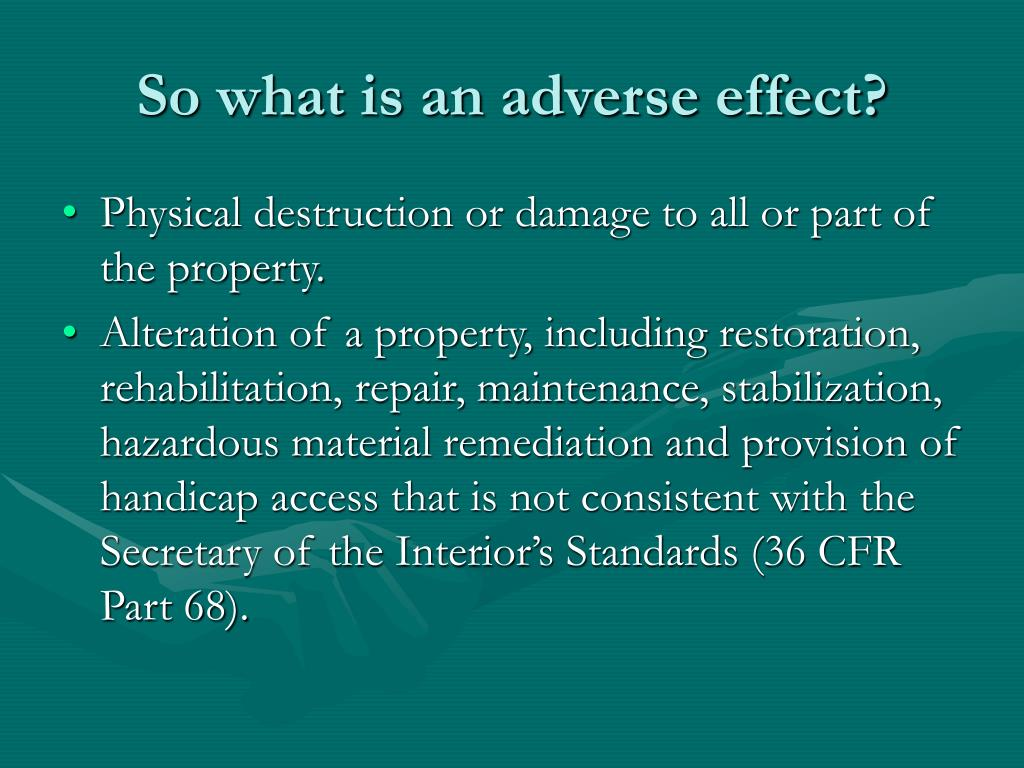So what is an adverse effect?