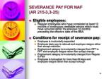 severance pay for naf ar 215 3 3 25