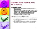 severance pay for naf cont ar 215 3 3 25