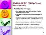 severance pay for naf cont ar 215 3 3 251