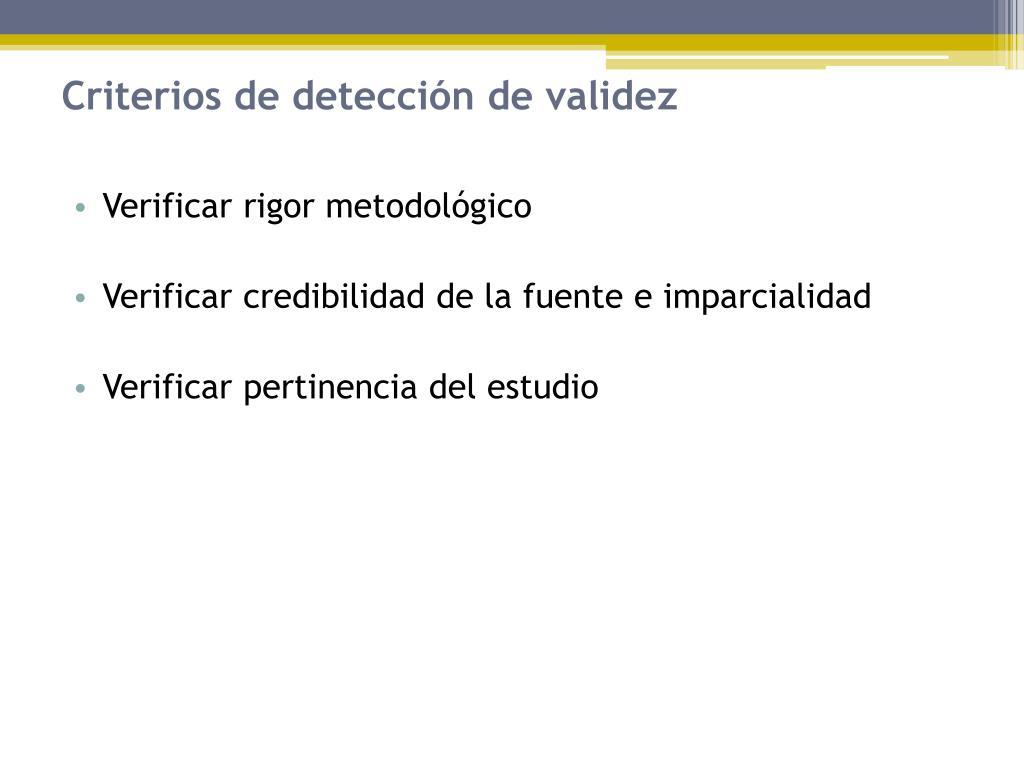 Criterios de detección de validez