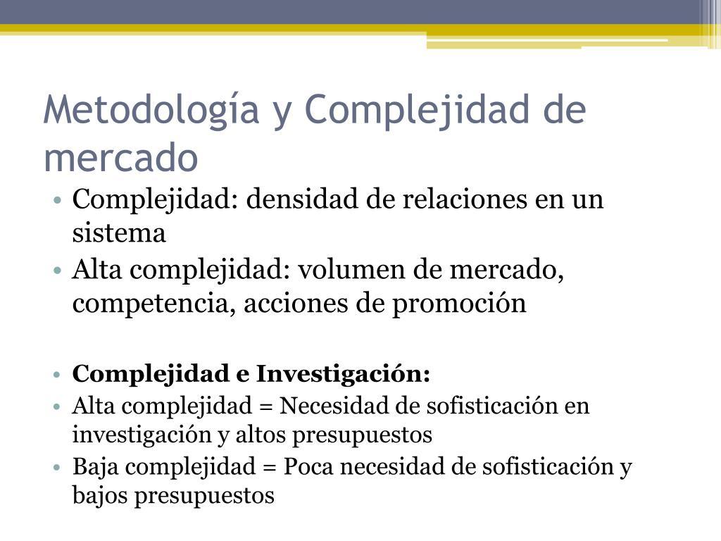Metodología y Complejidad de mercado