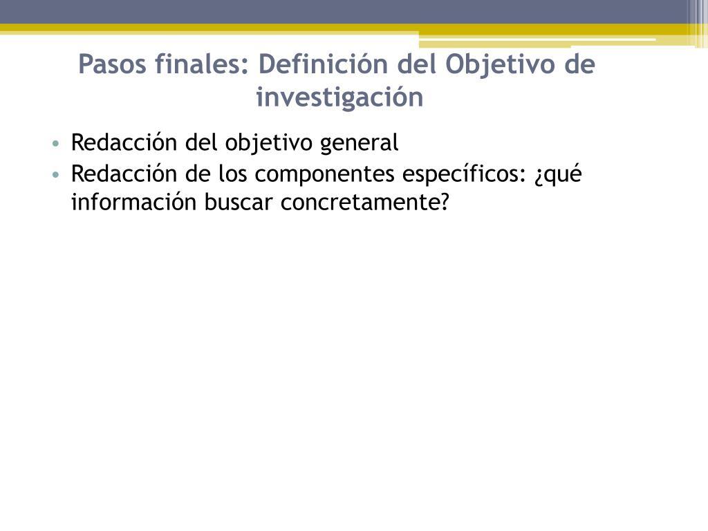 Pasos finales: Definición del