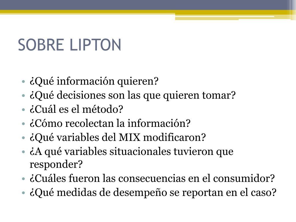 SOBRE LIPTON