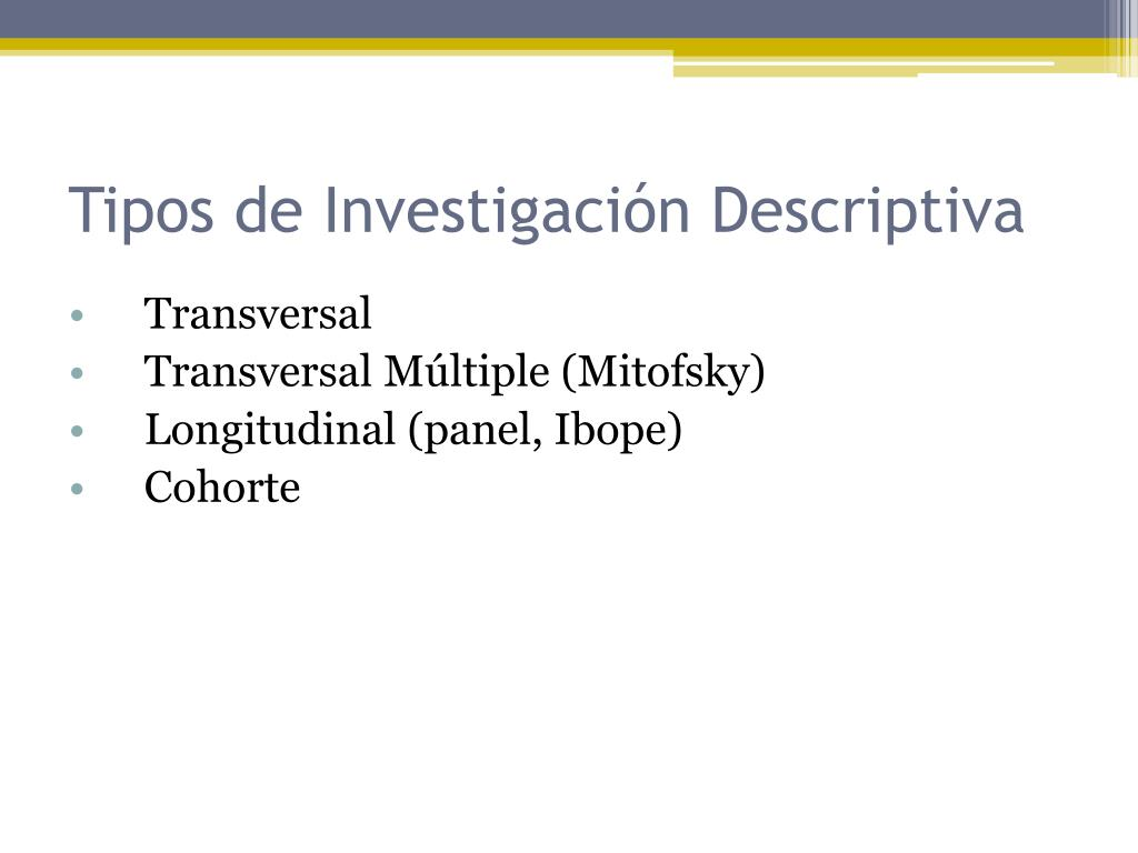 Tipos de Investigación Descriptiva