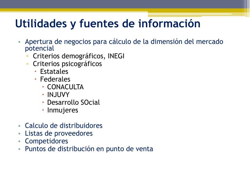 Utilidades y fuentes de información
