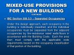 mixed use provisions for a new building continued22