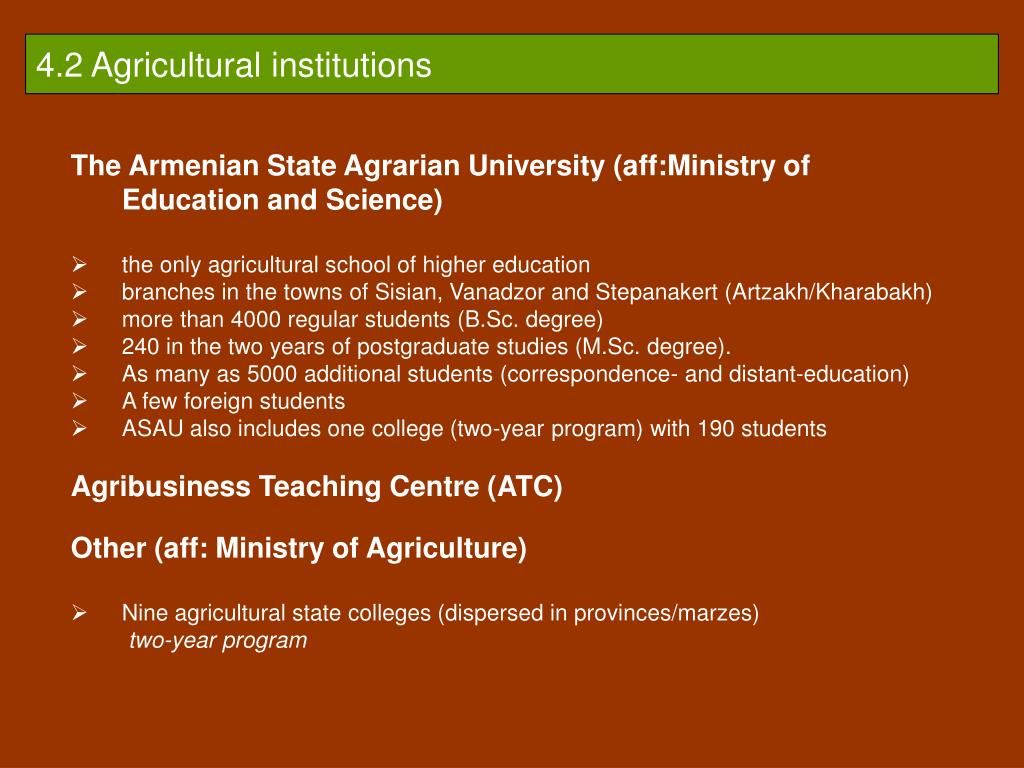 4.2 Agricultural institutions