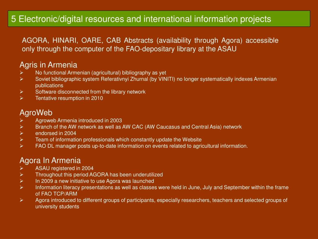 5 Electronic/digital resources and international information projects