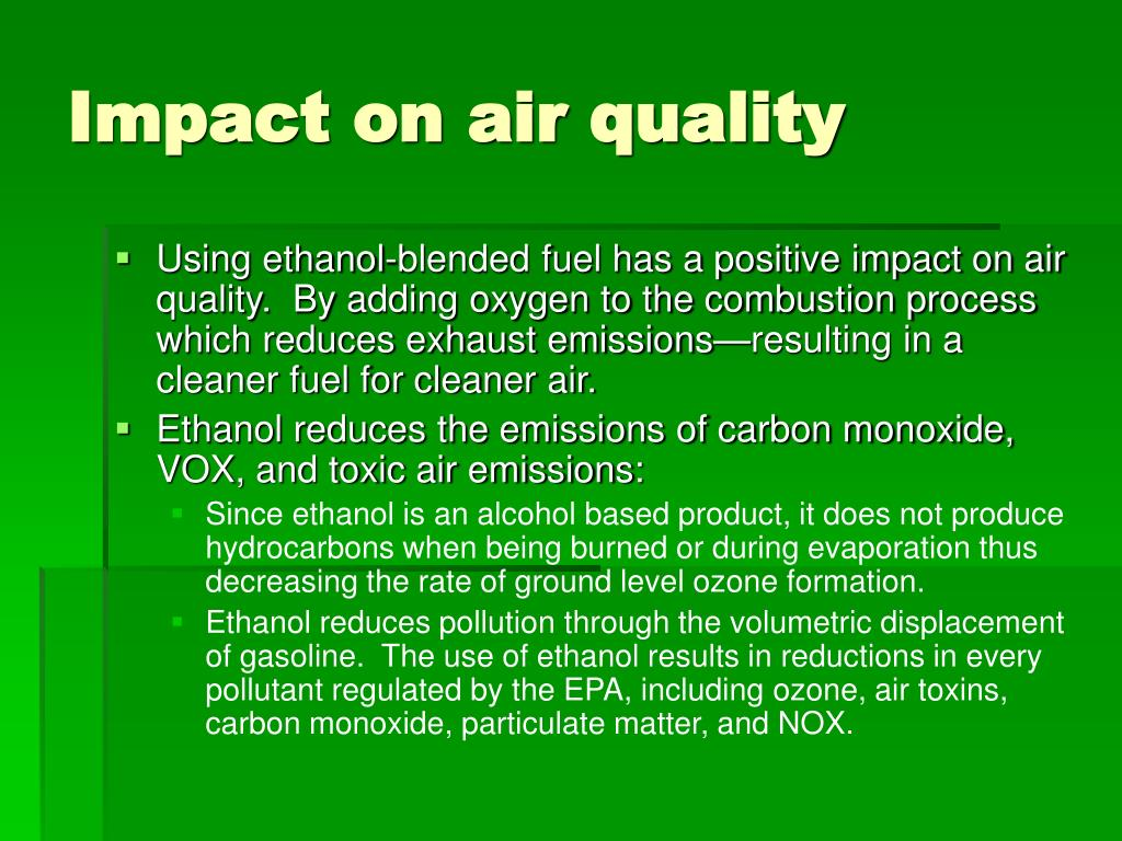 Impact on air quality