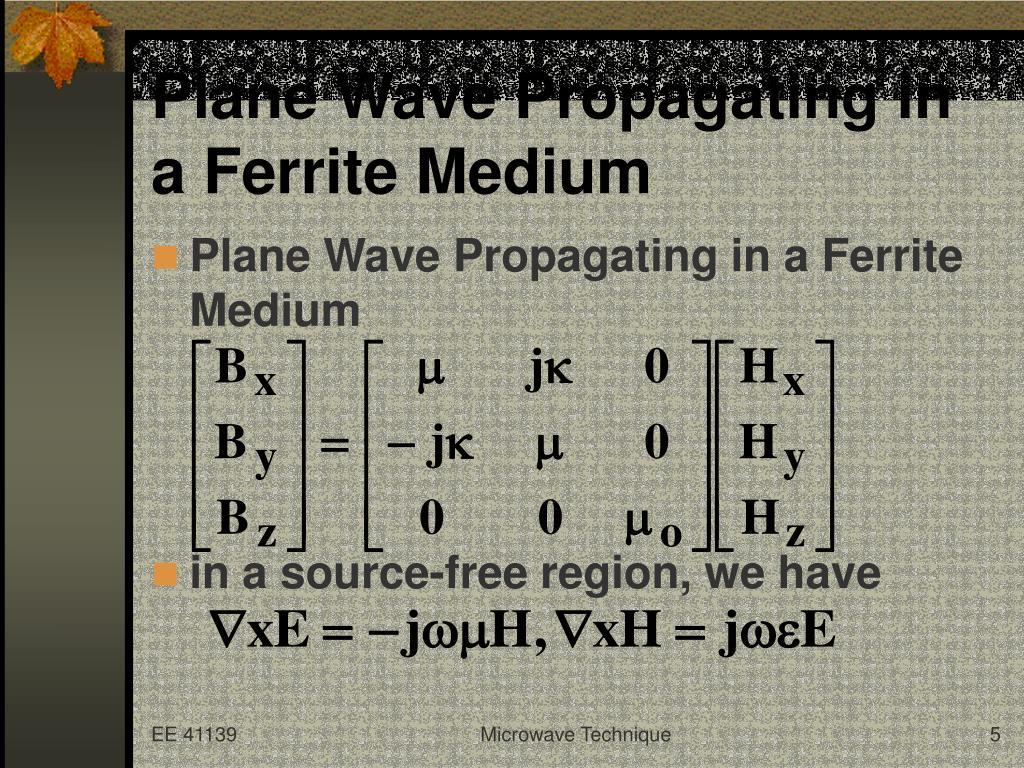 Plane Wave Propagating in a Ferrite Medium