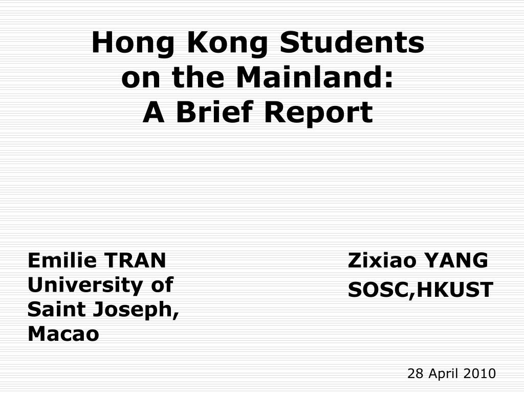 hong kong students on the mainland a brief report l.