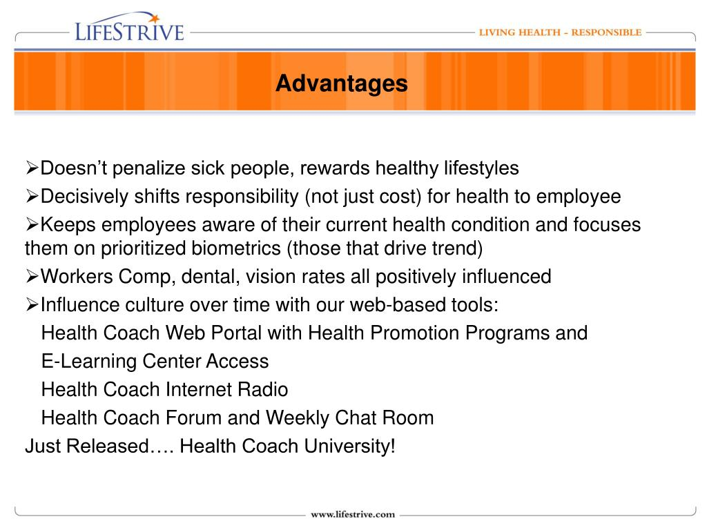 Doesn't penalize sick people, rewards healthy lifestyles
