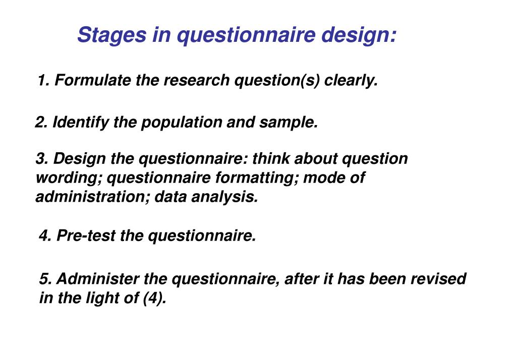 Stages in questionnaire design: