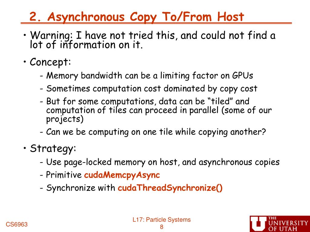2. Asynchronous Copy To/From Host