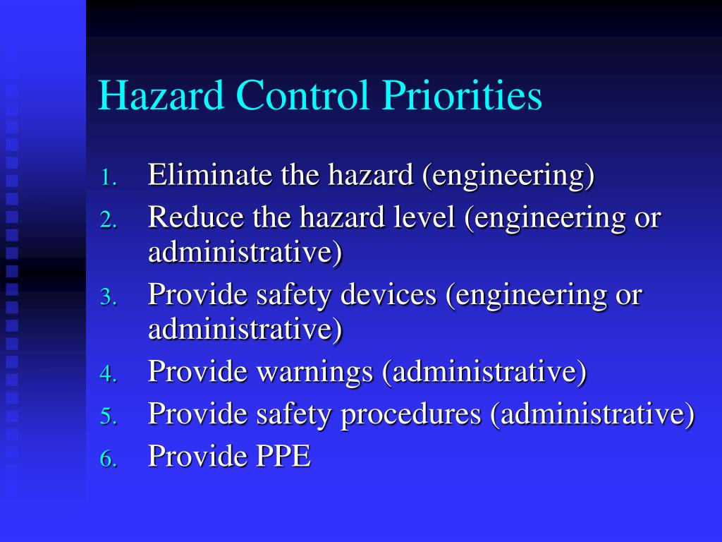 Hazard Control Priorities