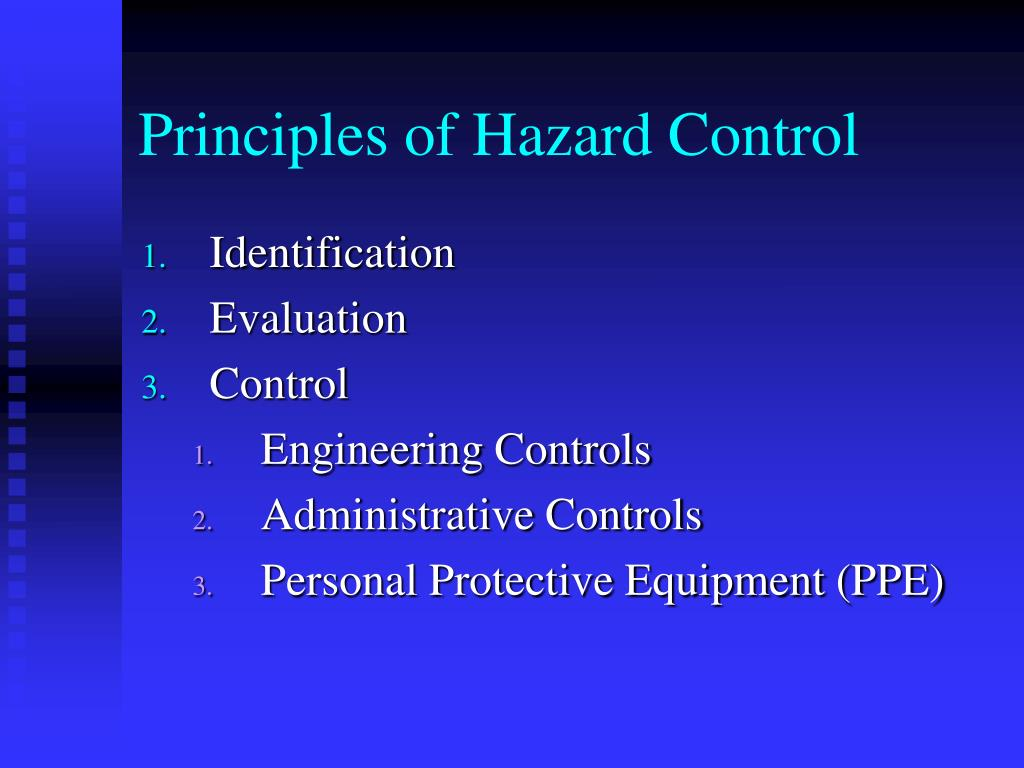 Principles of Hazard Control