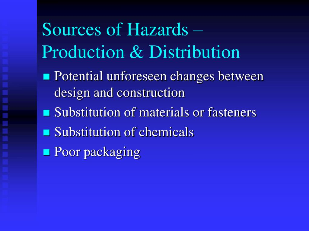 Sources of Hazards –