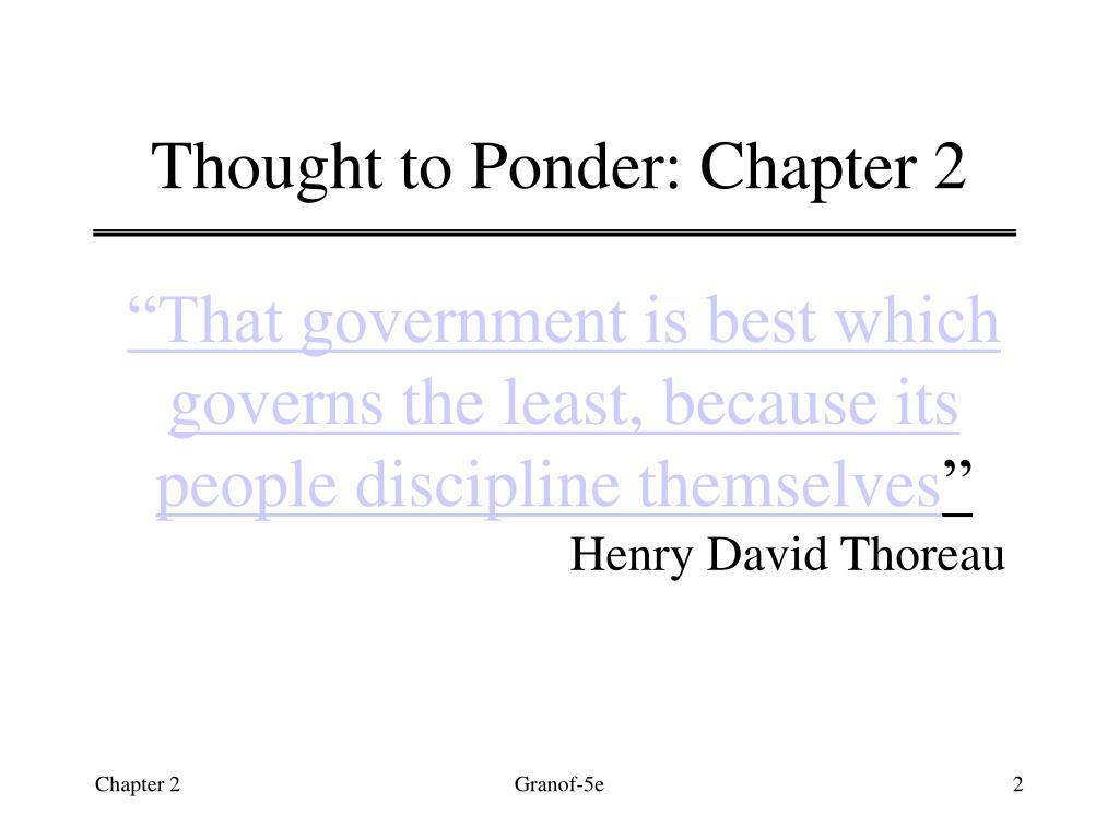 Thought to Ponder: Chapter 2
