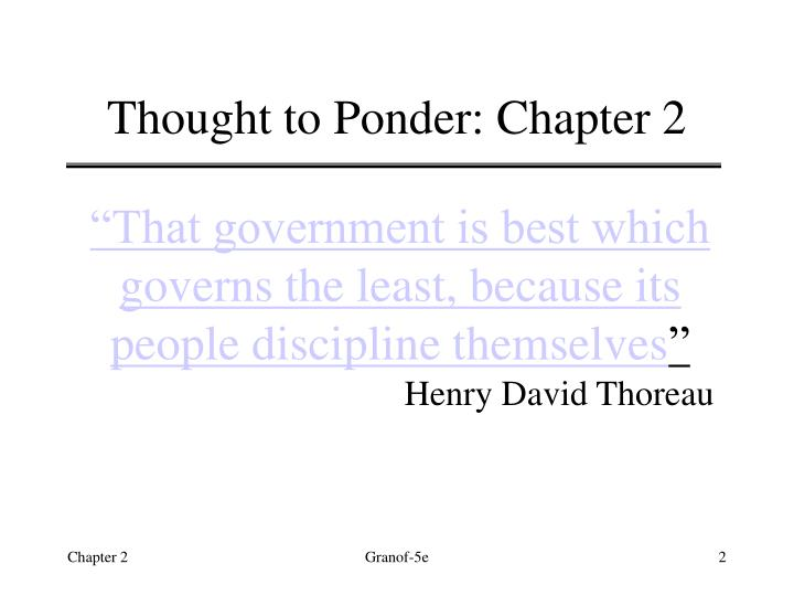 Thought to ponder chapter 2