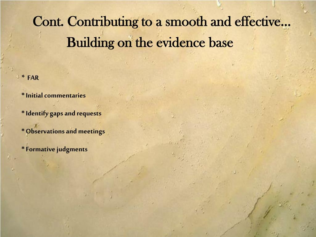 Building on the evidence base