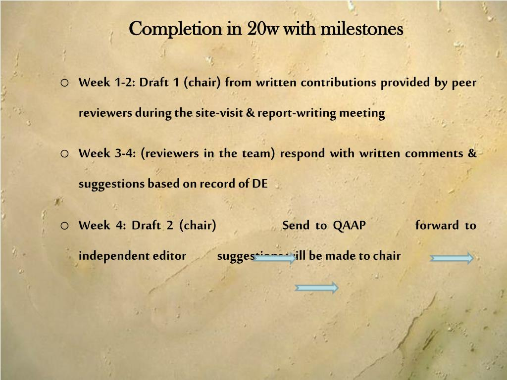 Completion in 20w with milestones