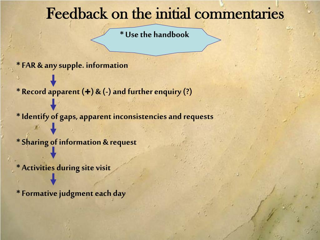 Feedback on the initial commentaries