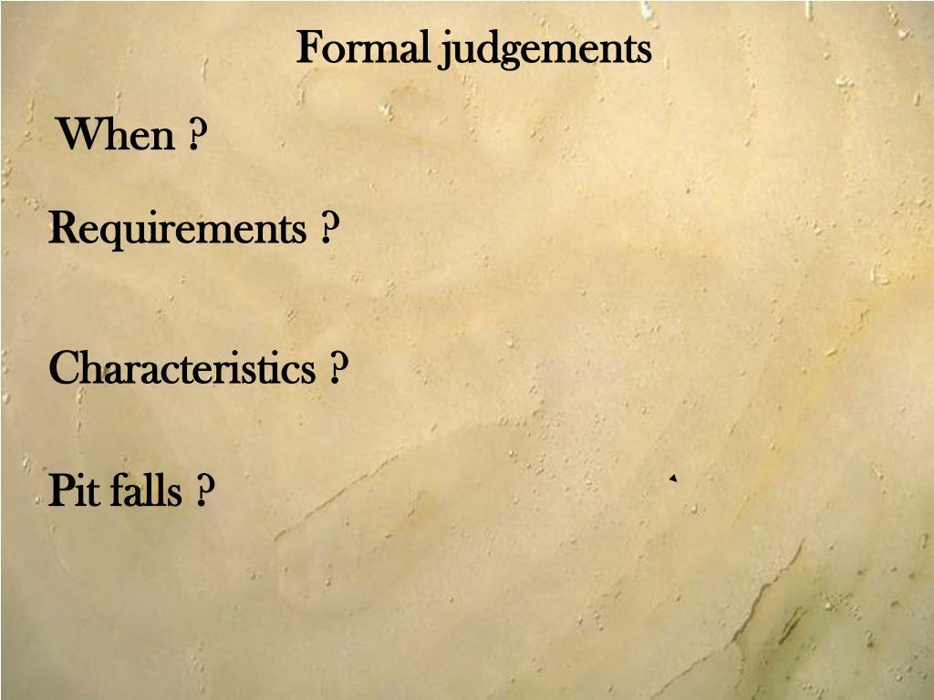 Formal judgements