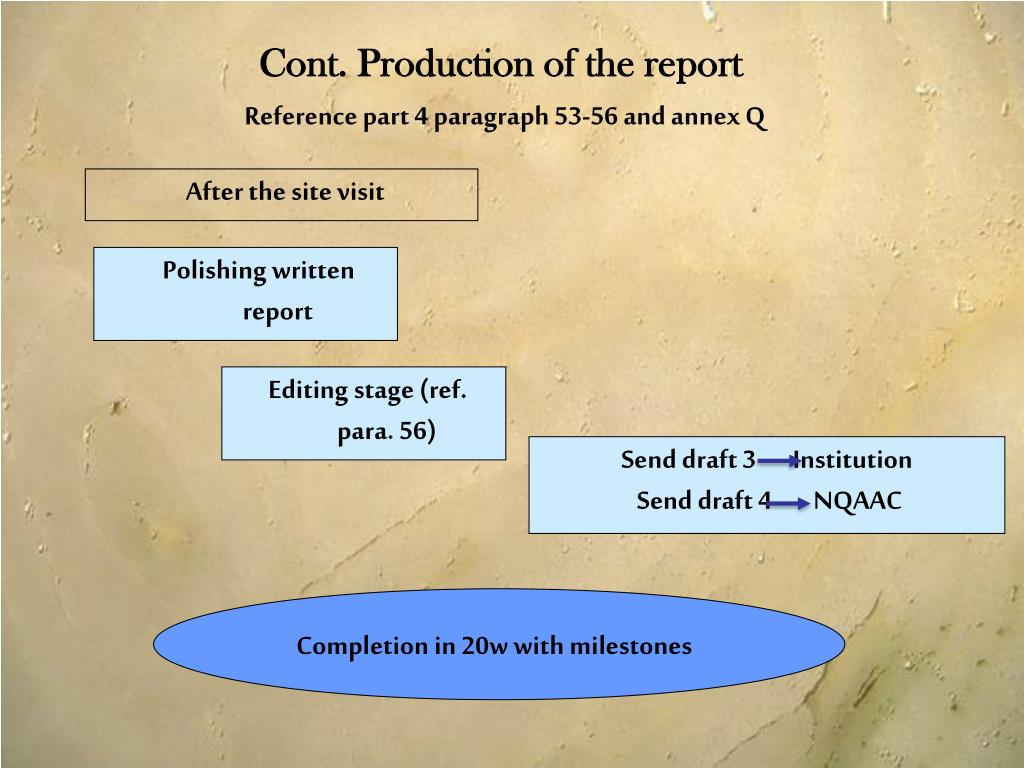 Cont. Production of the report